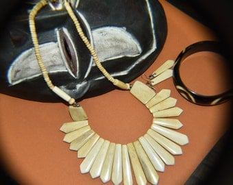 Natural Buffalo bone colored tribal African Necklace set # 219