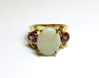 opal and ruby fashion 14k gold ring