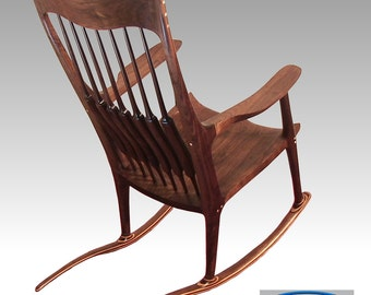 Walnut Rocking Chair with Floral Inlay (Rose)