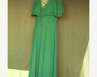 On Sale 1980's Teal Crepe Over Satin Formal Evening Prom Dress