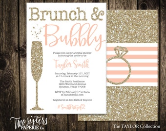 Peach Brunch and Bubbly Bridal Shower Invitation - Gold Glitter Brunch & Bubbly Invitation - Silver Bridal Shower - TAYLOR Collection