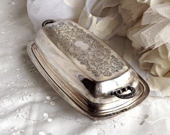 Silver Plated Lidded Butter Dish, Wedding Table, Vintage Kitchen, Wedding Decor, Silver Butter Dish, Covered Butter Dish