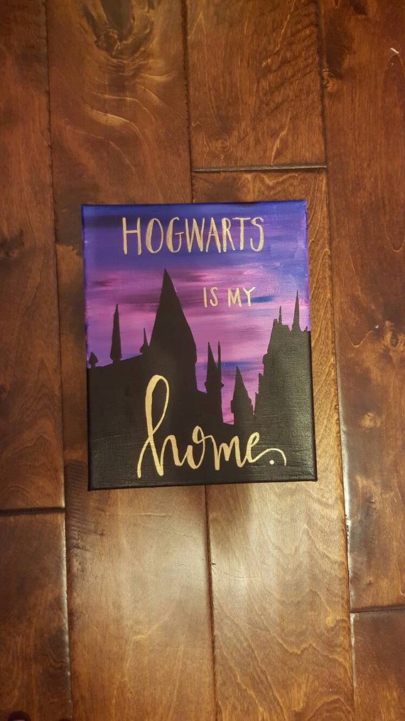 Harry Potter Quote Canvas Painting Hogwarts Is My Home 8x10