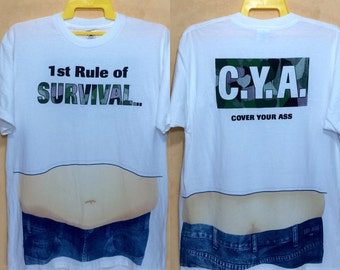 90s Vintage 1st Rules Survival Cover Your Ass Hip Hop All Over Print T-shirt Large Adult Size