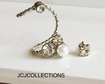 Silver Crystal & Pearl Ear Pin Earrings