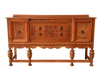 SOLD - Antique Spanish Revival Oak Sideboard Buffet
