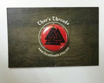 25mm Valknut Button Badge Viking Odinic Heathen Pagan Pin Odinist Thor Odin Asatru Valkyrie