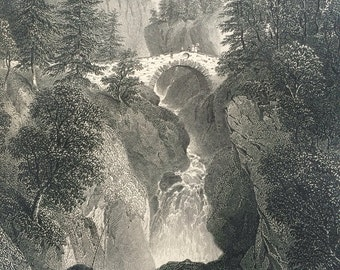 1870 FALLS OF BRUAR original antique print, Scotland History, 10 x 12 inches, Available Framed