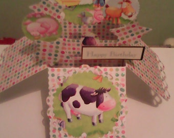 Handmade child's farm pop up box birthday card