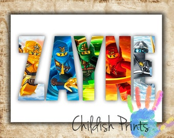 personalised LEGO NINJAGO character name art gift idea printable - Kai, Jay, Zane, Cole, Nya, Lloyd, Master Wu
