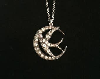 victorian faux diamond crescent moon amulet with dove paste stone