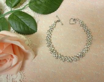 Vintage Diamante Bracelet, Crystal Bracelet, Wedding Bracelet, Brides Bracelet, Rhinestone Bracelet, Czech Crystal Bracelet, T Bar Fastener