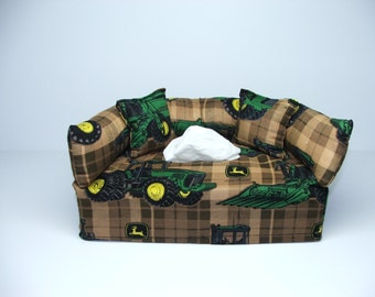 John Deere Designer fabric tissue box cover.