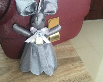 Chic Lace Bunny Dolls Bag Charm Silver Gray