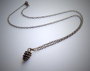 Pine Cone Necklace, Antique Bronze Pinecone Charm Pendant, Woodland Forest Autumn Curb Chain Necklace, Dainty Necklace, Minimal Necklace,