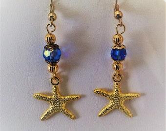 Starfish Gold Tone Pierced Earrings