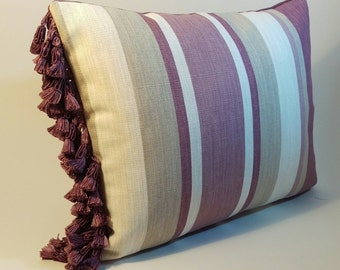 Handmade LAURA ASHLEY striped fabric rectangular cushion with a purple tassel trim and purple reverse