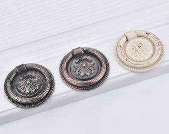 Drawer Pull Knobs Handles Dresser Drop Pulls Rings / Antique Bronze Copper Lvory White Door Knocker Cabinet Knob Handle Vintage Hardware