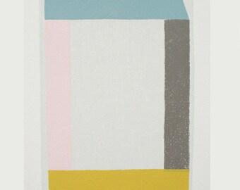 Emma Lawrenson screenprint, contemporary original art. Minimal, colorblock, Frank Stella, Ellsworth Kelly