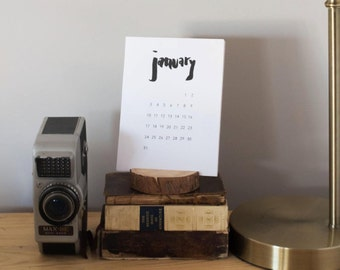 Hand Lettered 2017 Desk Calendar with Wood Stand