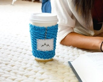 Blue Mountains Coffee Travel Mug Cozy, Personalized Gifts for Her, Knit Mug Warmer, Knit Cup Cozy, Blue Coffee Cozy, Knitted Cup Cozy