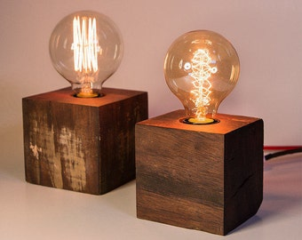 Upcycled Wood Cube Lamp - Handmade from Reclaimed Australian Timber