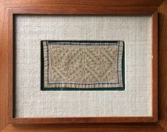 Framed vintage Hmong embroidery and appliqué with hemp cloth and teak #7