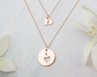 Personalized mother daughter necklaces, choose rose gold, silver or gold. Dainty mother daughter heart necklaces.