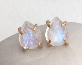 Rainbow Moonstone Claw Stud Earrings - Gold Stud Earrings - Gemstone Stud Earrings - Alternative Bridal
