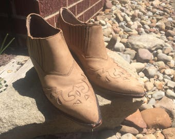 vintage 80s western ankle bootie boots brown