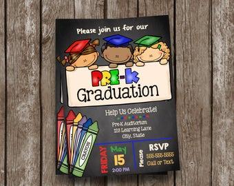 Pre-K Graduation Invitation - Prek - Announcement - Pre K - Kindergarten - Chalkboard - Custom - Invite - Teacher