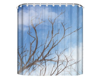 Branch Tree Shower Curtain, Brown Tree Shower Curtain, Shower Curtain Tree,  Blue Sky