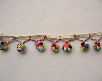 Rich colored Multicolor Pompom Trim by 5 yards
