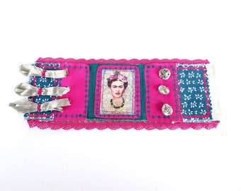 Frida Kahlo bracelet, Frida jewelry, boho cuff bracelet, boho fabric bracelet, fabric cuff bracelet, fabric boho jewellery, mexican colors