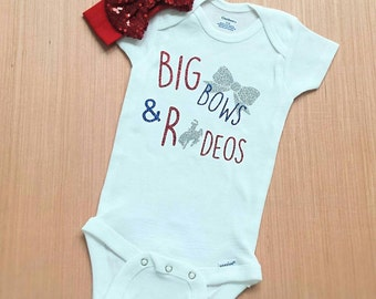 Big bows and rodeos, rodeo shirt, rodeo onesie, western baby onesie, baby rodeo onesie, cowgirl onesie, cowgirl shirt