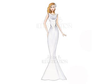 wedding dress sketch-Fashion Illustration-print-wedding print-wedding art-bridal art-bridal-fashion sketch-wall art-salon decor-bridal print