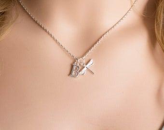 Silver dragonfly necklace, dragonfly necklace, dragonfly jewellery, insect necklace, dragonfly jewellery, dragonfly, SPDRAN0119