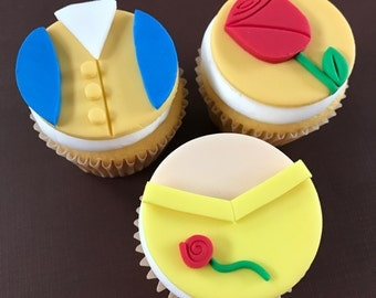 12 Beauty and the Beast Inspired Cupcake Toppers-Fondant