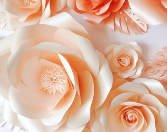 Wedding Paper Flowers - Wedding Flower Wall - Large Paper Flowers - Custom Color