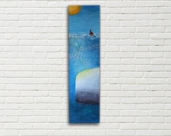 Original art, Whale painting, mixed media art, whale art, nautical art, seascape,  sea painting, Boat painting, reclaimed wood, wall art