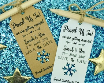 Rustic Pencil Us In Save The Date Card Invitation For Winter Wedding, Snowflake