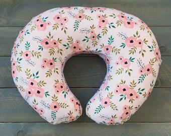 Nursing Pillow Cover Blush Floral for Boppy Pillow, Breastfeeding Pillow Slipcover Flowers Pink, Girl Nursery Decor