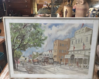 Front & Burnaby St. Bermuda Watercolor Print by Sue Quarles