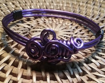 Purple handmade wire wrapped bracelet