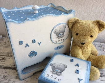 Baby shower set Baby diaper box and Baby keepsake box Personalized baby keepsake Baby shower gift