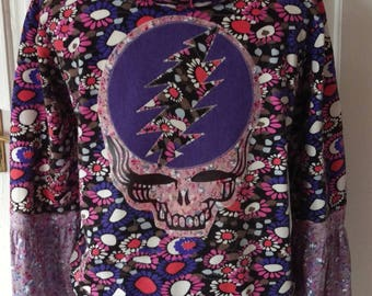 Upcycled Grateful Dead Inspired Stealie Floral Hoodie Festival Deadhead Patchwork Garcia Eco Babe Retro Recycled