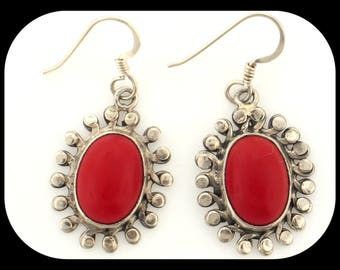Red Onyx Filigree Filigree 925 Sterling Silver Dangle Fish Wirre Hook EARRINGS