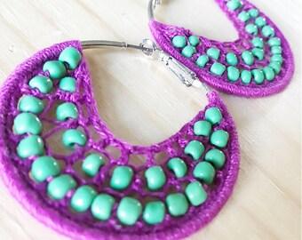 Purple earrings, purple hippie jewelry, woven hoop earrings, boho earrings, purple bead earrings, purple woven earrings, purple woven hoops