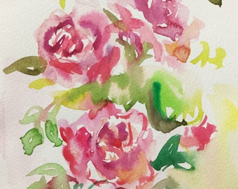 Small original watercolour painting, pink roses, fits 6x8in mount/mat,