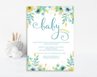 Watercolor Floral Baby Shower Invitation - Baby Shower Invitation - Modern Floral - Printable Invitation - Personalized Invitation